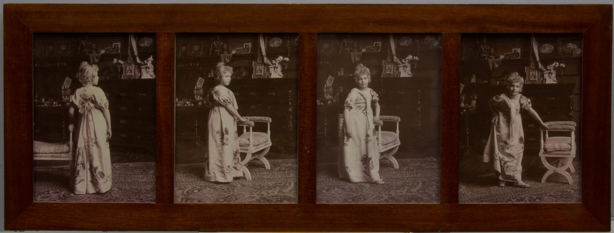 Greta Kronberg utklädd i empireliknande klänning och stående i Kronbergs ateljé, fyra fotografier något olika.