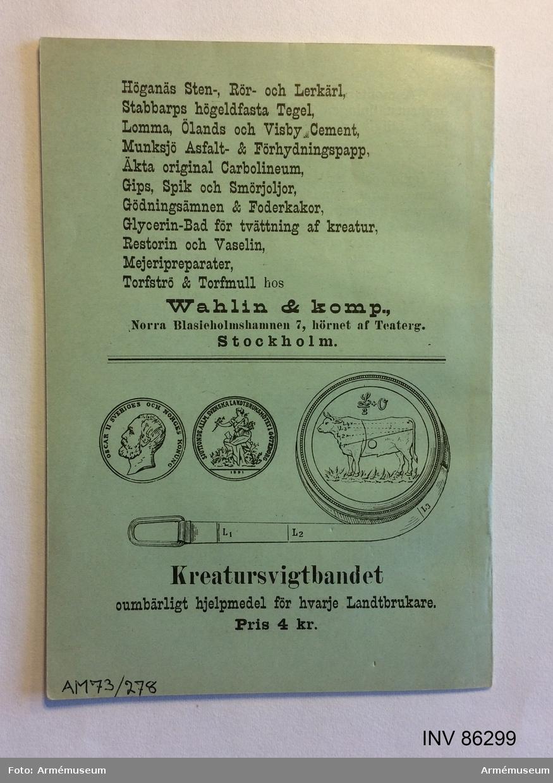 """Grupp MV.  Tryckt häfte """"Om kreaturs uppmätning och värdebestämning"""", Skövde 1894."""