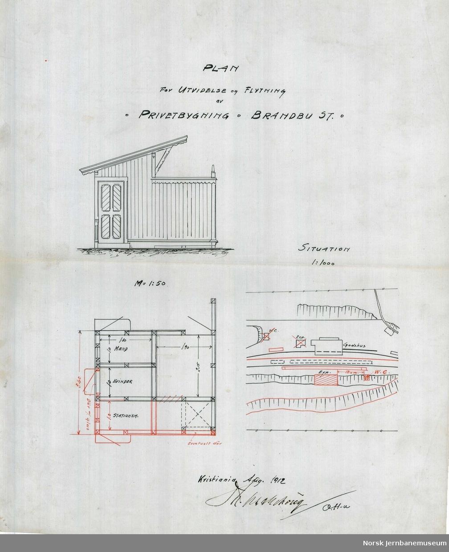 Plan for utvidesle og flytning av privetbygning Brandbu st.