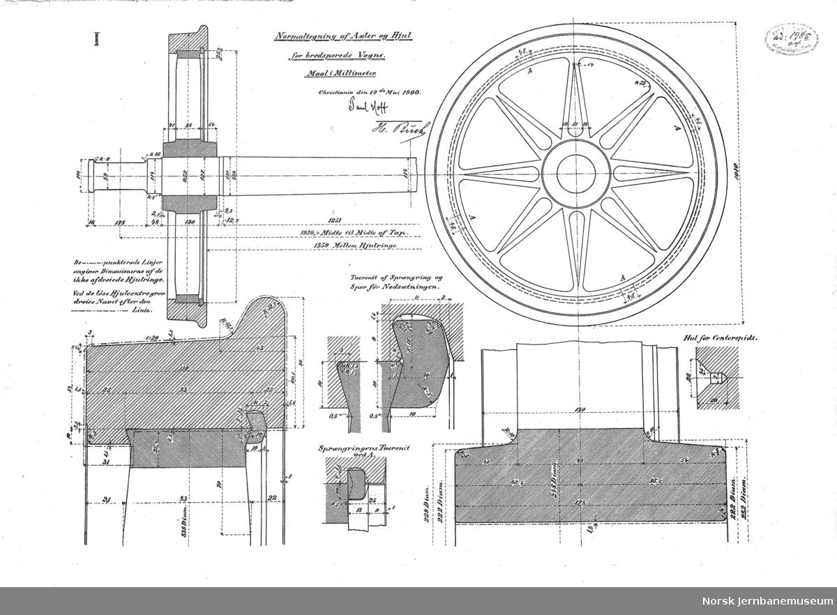 Normaltegning af Axler og Hjul for bredsporede Vogne