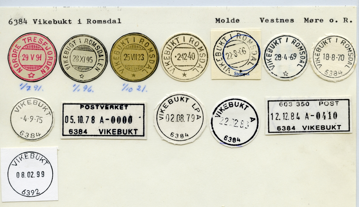Stempelkatalog  6384 Vikebukt i Romsdal, Vestnes kommune, Møre og Romsdal (Nordre Tresfjorden)