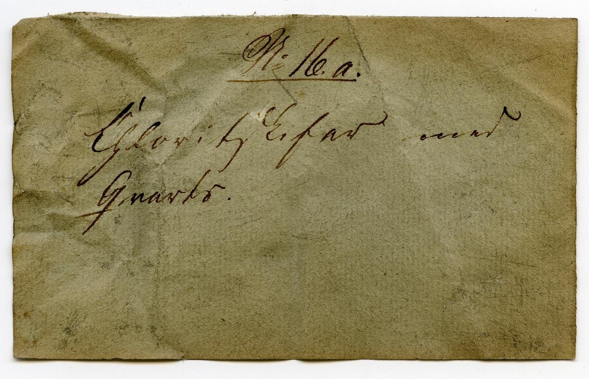 Etikett på prøve: 16.a  Etikett i eske: No 16.a. Chloritskifer med  Qvarts.