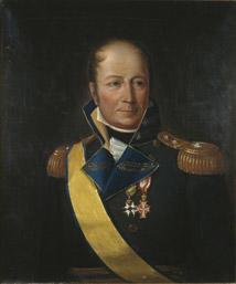 Portrett av Diderik Hegermann. Mørk uniform. Gult ordensbånd og to ordener, Dannebrog og Serafimerordenen.
