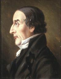 Portrett av Jonas Rein. Profil. Mørk drakt, hvit skjorte og halsbind.