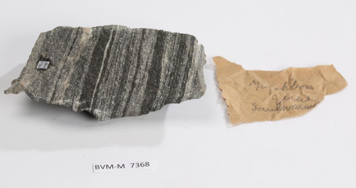 Lapp i eske: Injektions gneis Sandsværmo[en]