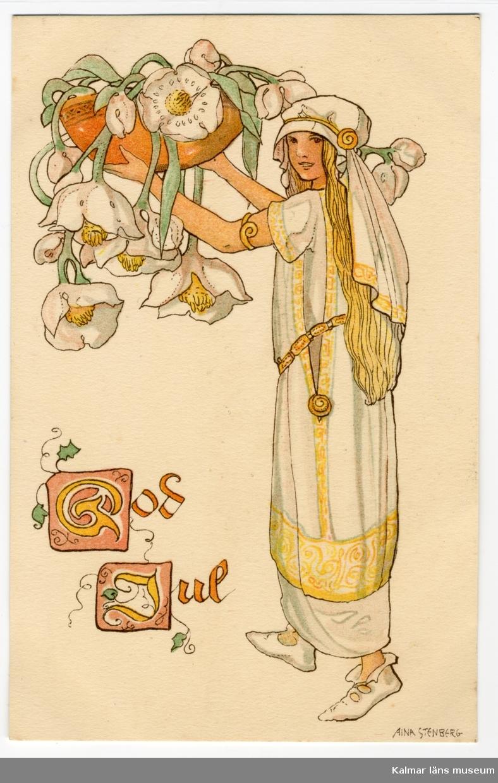En flicka i långt blondt hår håller upp en stor skål med vita julrosor som hänger ner. Nere till vänster står God Jul med gula bokstäver.