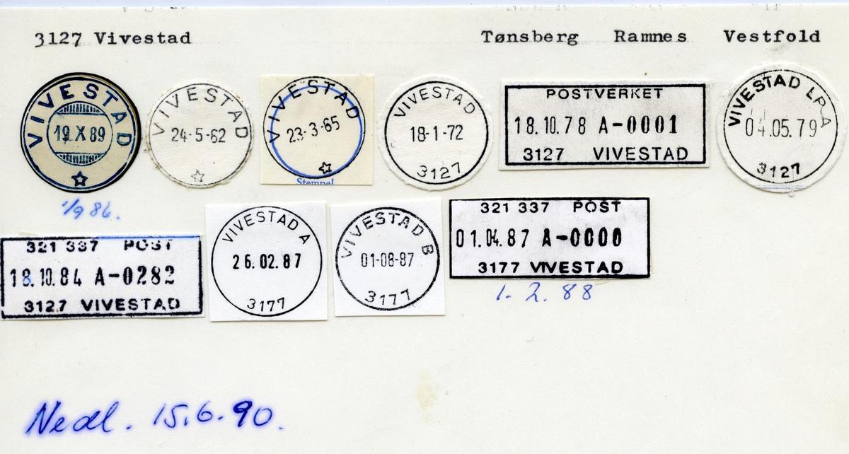 Stempelkatalog  3127 Vivestad, Ramnes kommune, vestfold
