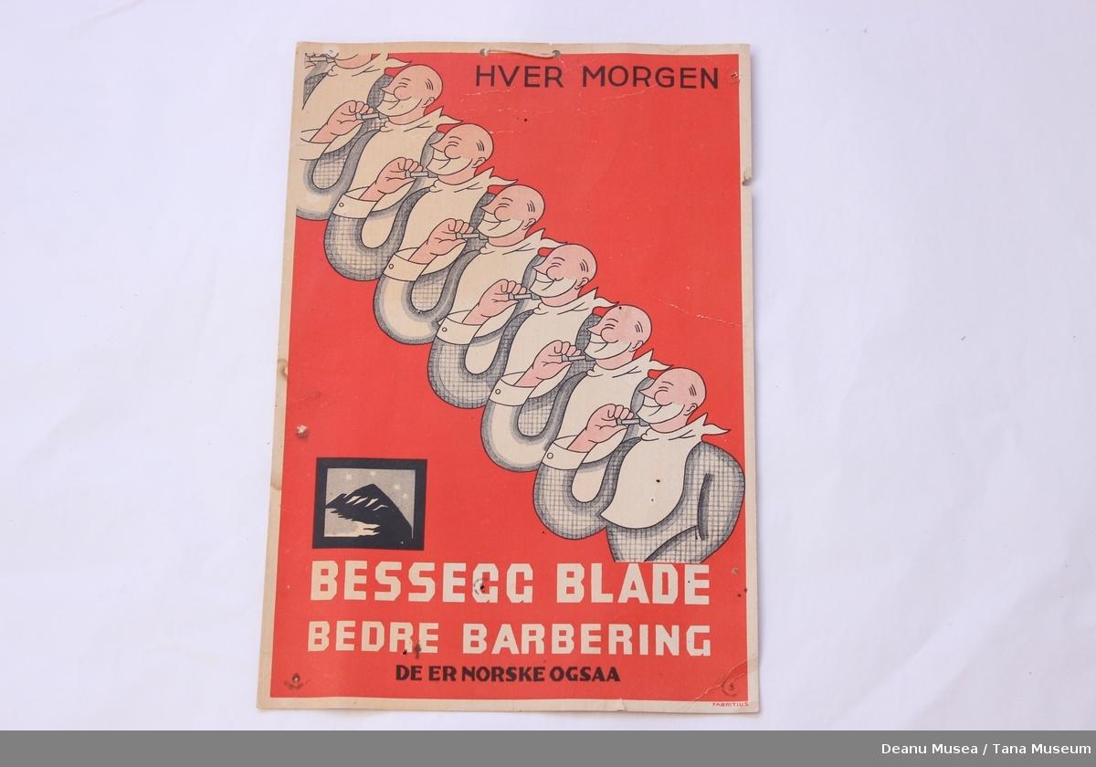 Reklameplakat med tau for oppheng.
