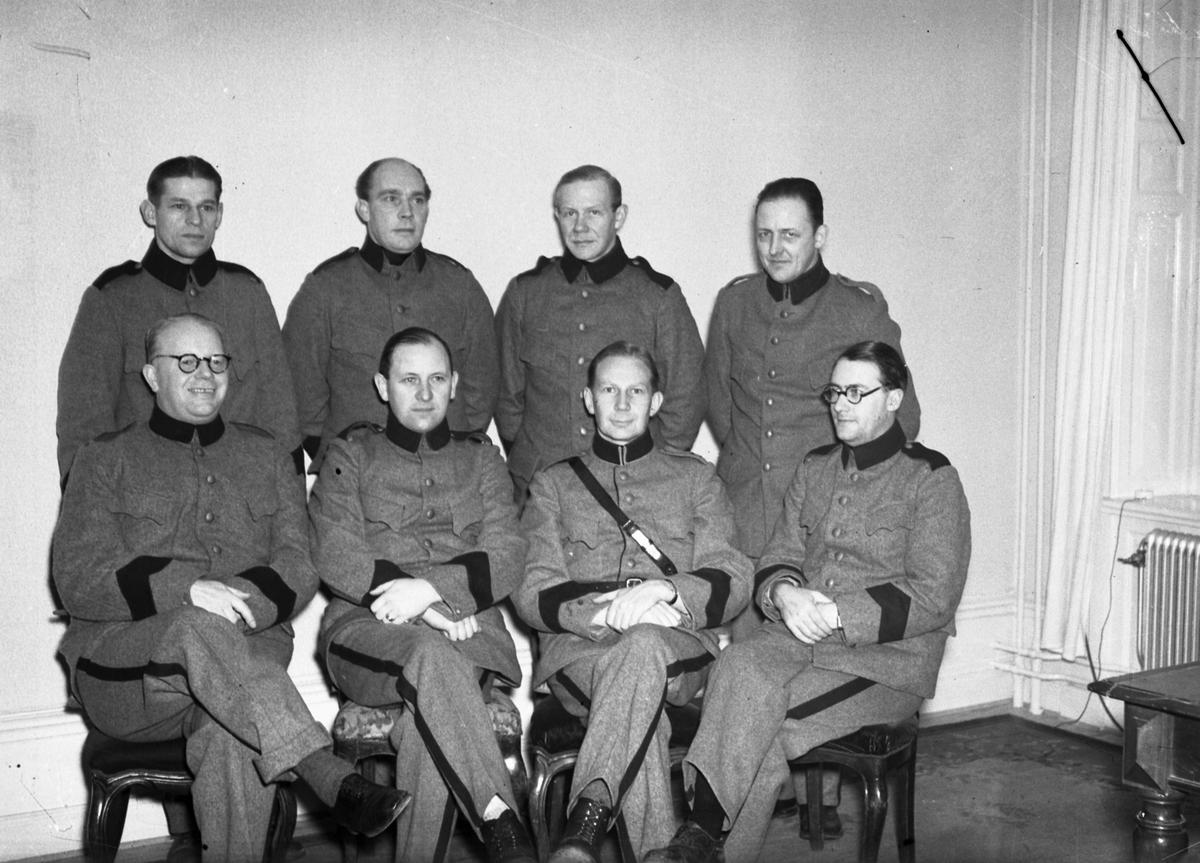 Löjtnant Hellström Militärgrupp taget på Järnvägshotellet December 1939