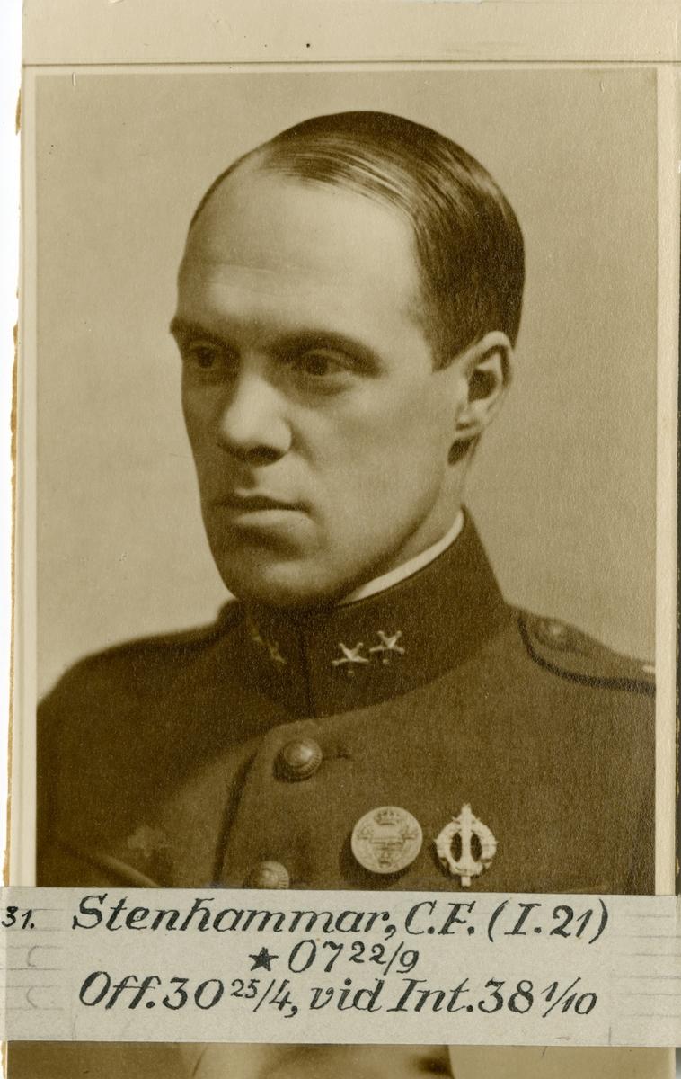 Porträtt av Christian Fredrik Stenhammar, officer vid Västernorrlands regemente I 21 och Intendenturkåren.