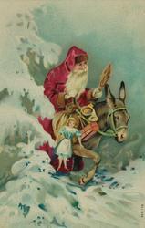 Julekort. Nyttårshilen. Julenisse med julegaver rir på et es