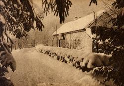 Postkort. Lendestovå Fra Time på Jæren i vinterskrud. Rogala