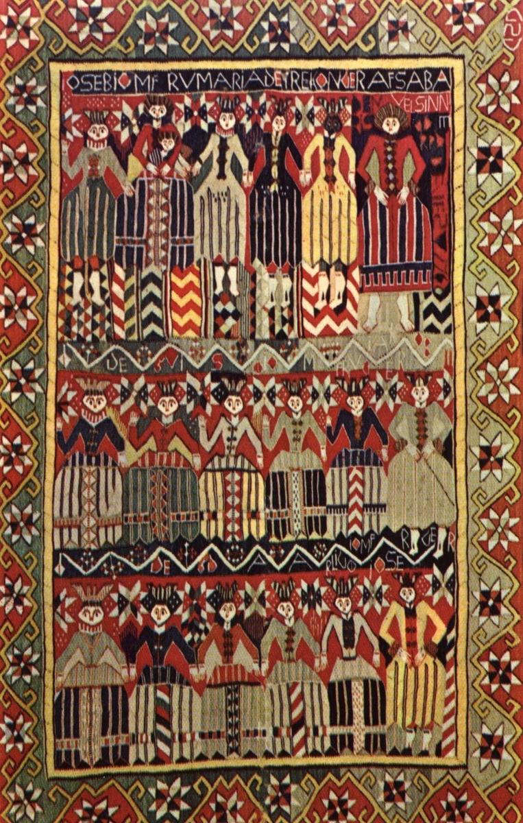 """Postkort. Norsk Folkemuseum. Billedteppe fra Bøverdal, Gudbrandsdalen, fra 1760. Motivet er: Josef, jomfru Maria, de Hellige tre konger """"af Saba"""",  Jacob, de fem kloke og de fem dårlige jomfruer."""