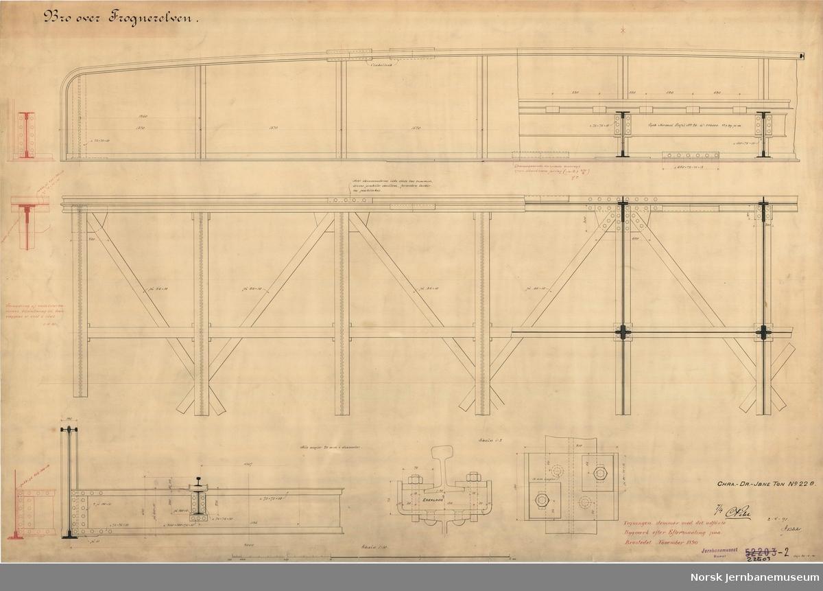 Bro over Frognerelven Tegningen er ajourført 1891