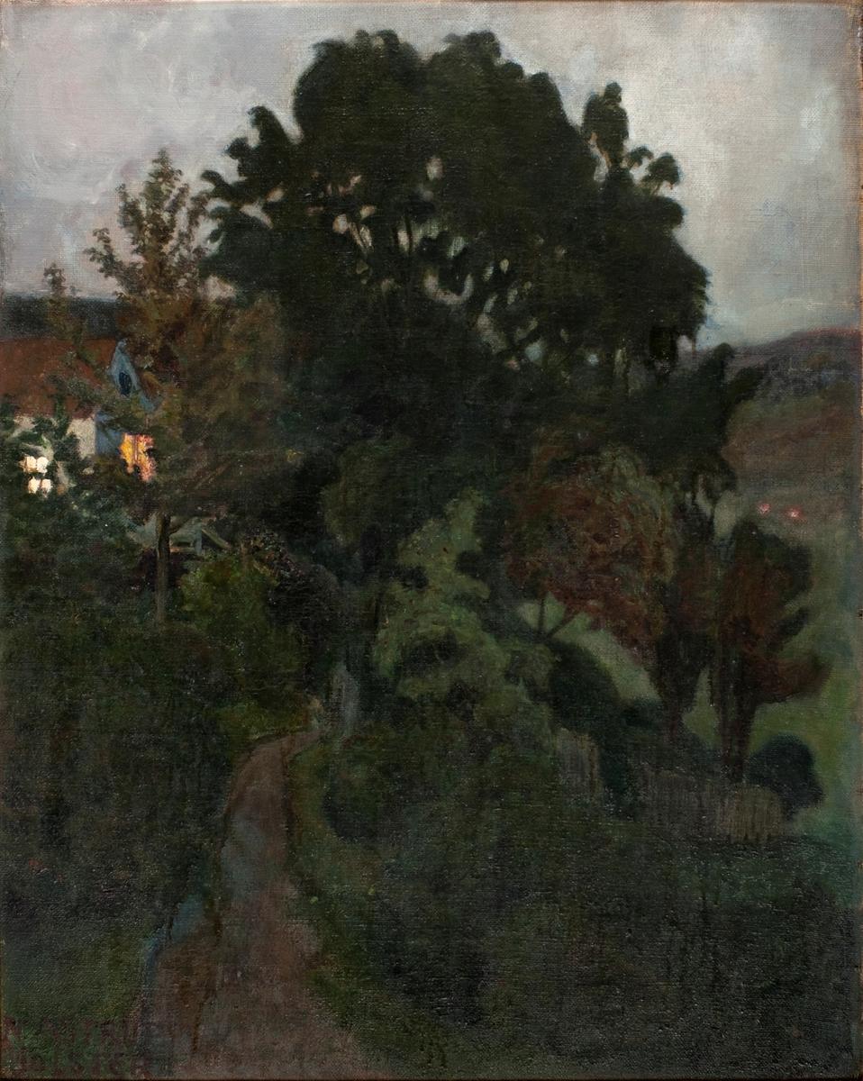 Høstskumring i hagen [Maleri]