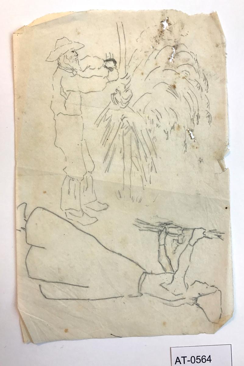 Einsidig skisse på tynt ark. Kvinnen er teikna på begge sider av arket