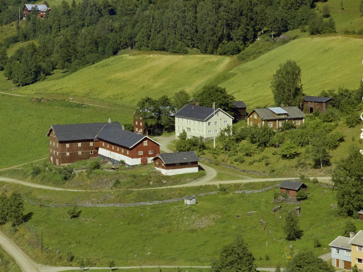 Gårdsbruk. Hvit hovedbygning, store røde driftsbygninger. Dyrka mark. Skigard