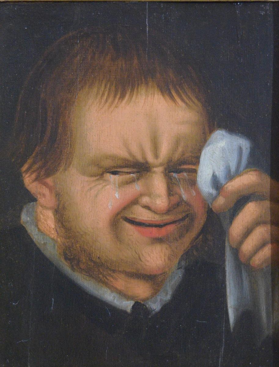 Maleriet viser et gråtende mannsansikt. Venstre hånd holder et hvitt tørkle løftet opp mot venstre øye. Av mannens klesdrakt sees bare en hvit krave tydelig.