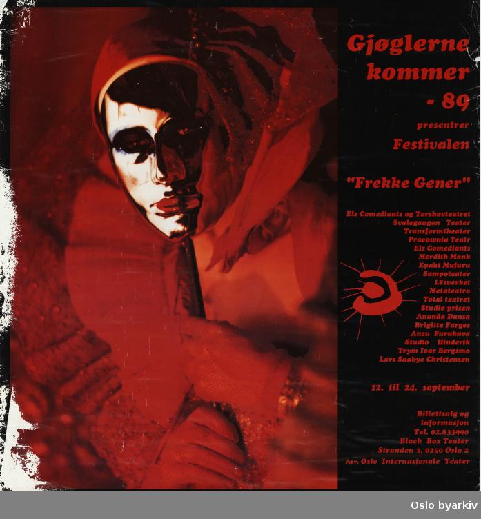 Plakat for festivalen Frekke Gener...Oslo byarkiv har ikke rettigheter til denne plakaten. Ved bruk/bestilling ta kontakt med Nordic Black Theatre (post@nordicblacktheatre.no)