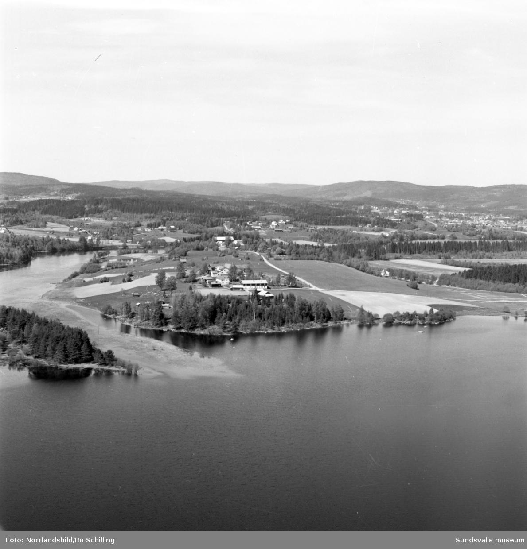 Flygfoto över gårdar på Ön i Marmen, Matfors.