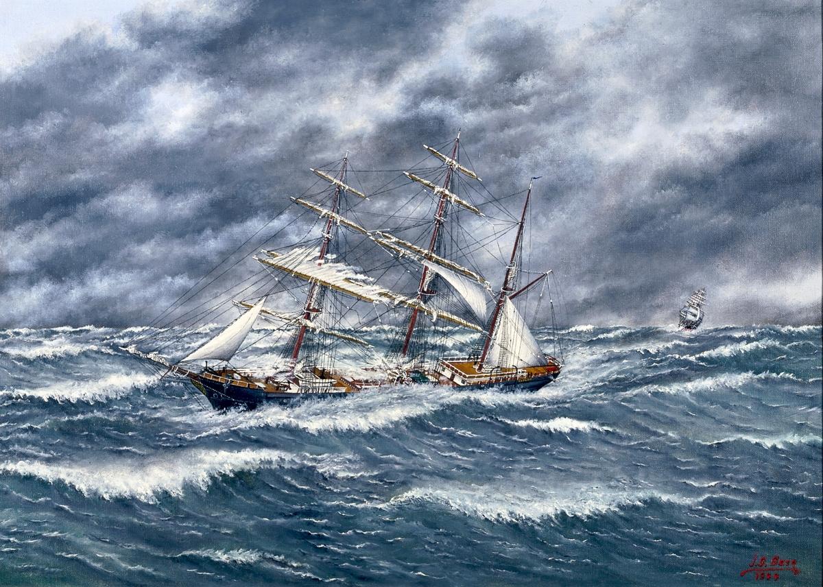 """Fartygsmålning, oljemålning, föreställande barkskeppet """"Ceylon"""". Signerad nedtill till höger: """"J.G. Berg 1944""""."""