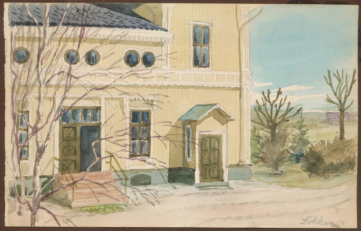 Hovedhuset på Løkken, inngangsparti (akvarell)