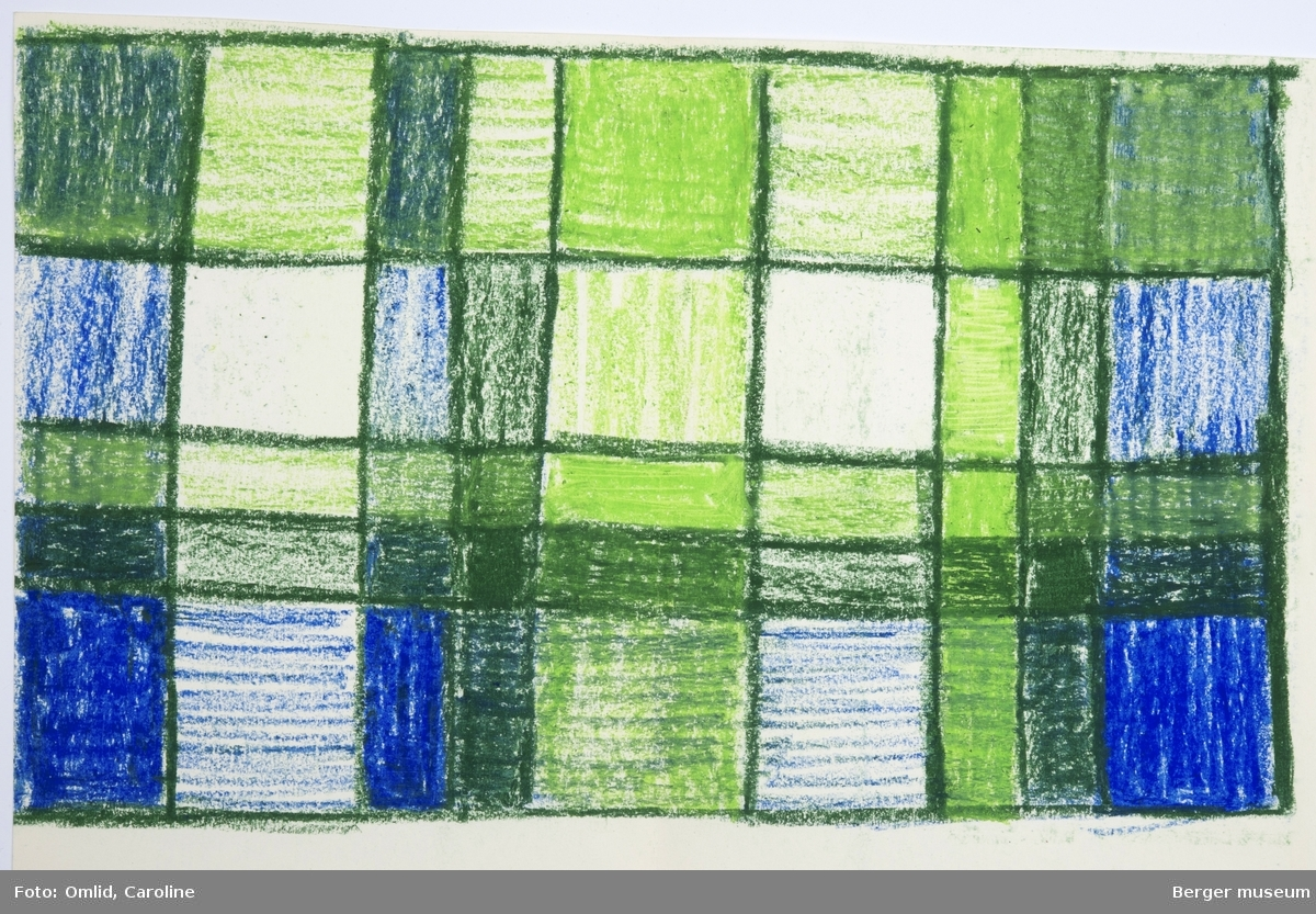 Ruter inspirert av gruppen de Stijls geometriske ruteformspråk. Rutene er fylt av farger som endrer nyanse etter blanding av renning og innslag, og avgrenses av en mørkere grønn linje