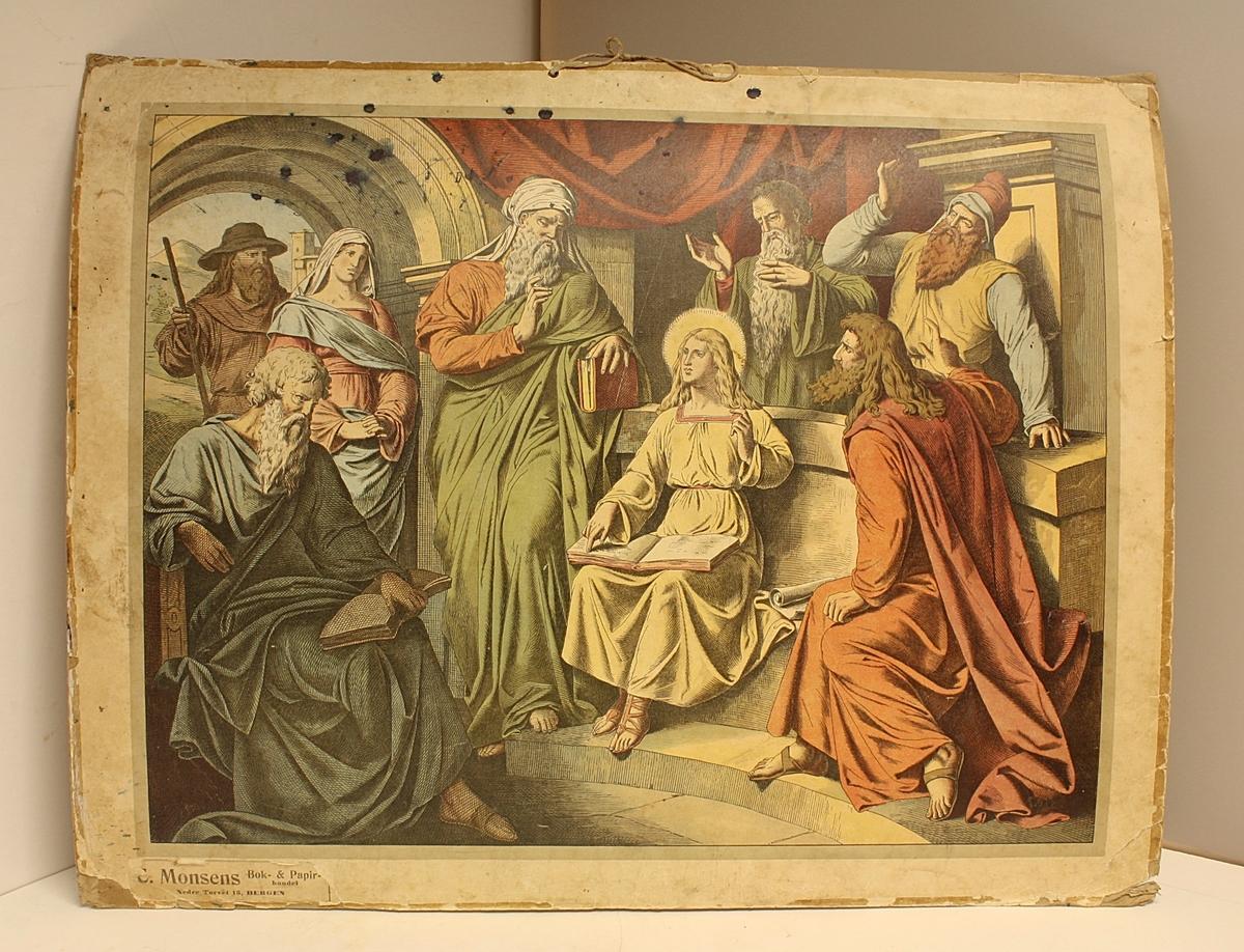 Rektangulær plakat. Åtte personer i en byggning. Jesus med en åpen bok. Noe blekkflekker.