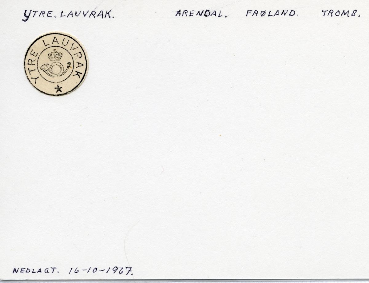 Stempelkatalog Ytre Lauvrak, Froland kommune, Aust-Agder
