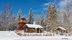 Vinterstemning fra friluftsmuseet ved Norsk Skogmuseum i Elv
