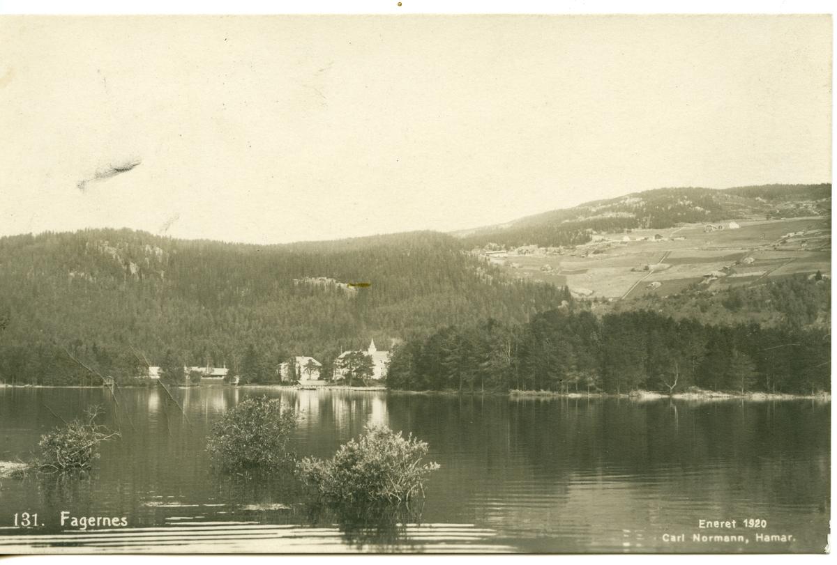 Postkort med motiv av Strandefjorden, Ranheimsbgda og Fagernes.