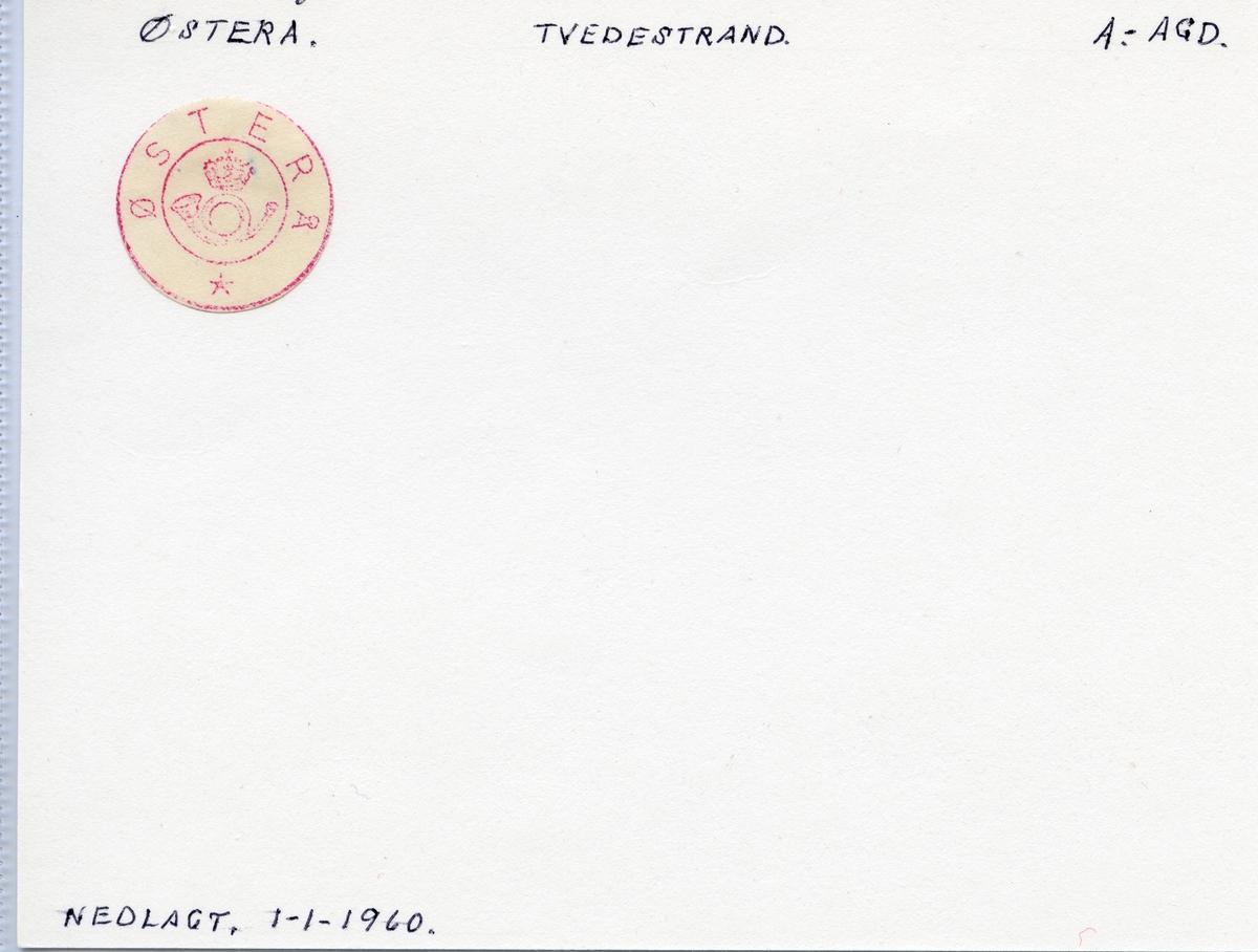 Stempelkatalog  Østerå, Tvedestrand kommune, Aust-Agder