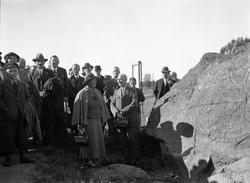 Folksamling vid runsten, sannolikt Uppland, september 1935