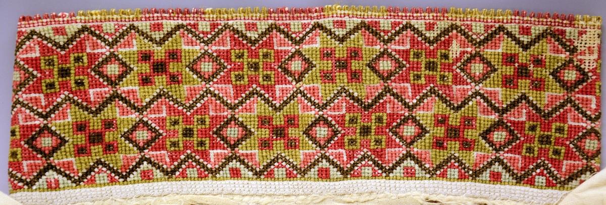 Fra protokoll: Skjorte, Aust-Telemark. Hjemmevevetbomullslerret. Slitt, særlig rundt halsen. Stoppesøm langs halssplitten, dessuten korsssting i ull på lin. Ermer skjøtet på langs. Prydsøm: Stoppesøm i Rødt, rust, turkis, grønt. Klostersøm austmannarenning og korssting i same farge + sortbunt. Halslinning: 2 rader åttebladsroser vekselsvis i gammelrosa og grønt med røde valknuter i rosene. Dessuten lys-gammelrosa og turkis trekanter og svartbrune siksaklinjer. Grønne og rosa tagger i grupper à 8 stk. I hver kortside 3 delte knapphullsløkker (2 grønne 1 rosa). Handlinninger av 1 rad åttebladroser i grønn og gammelrosa. Grønne tagger. Håndsøm.