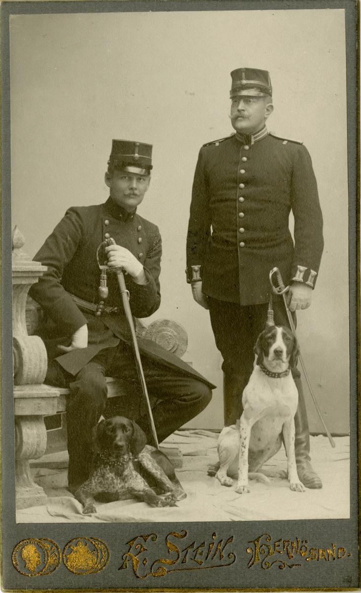 Porträtt av underlöjtnant Carl Wilhelm Isakson (till vänster) och löjtnant Erik Olof Wilhelm Lené (till höger) vid Västernorrlands regemente I 28.