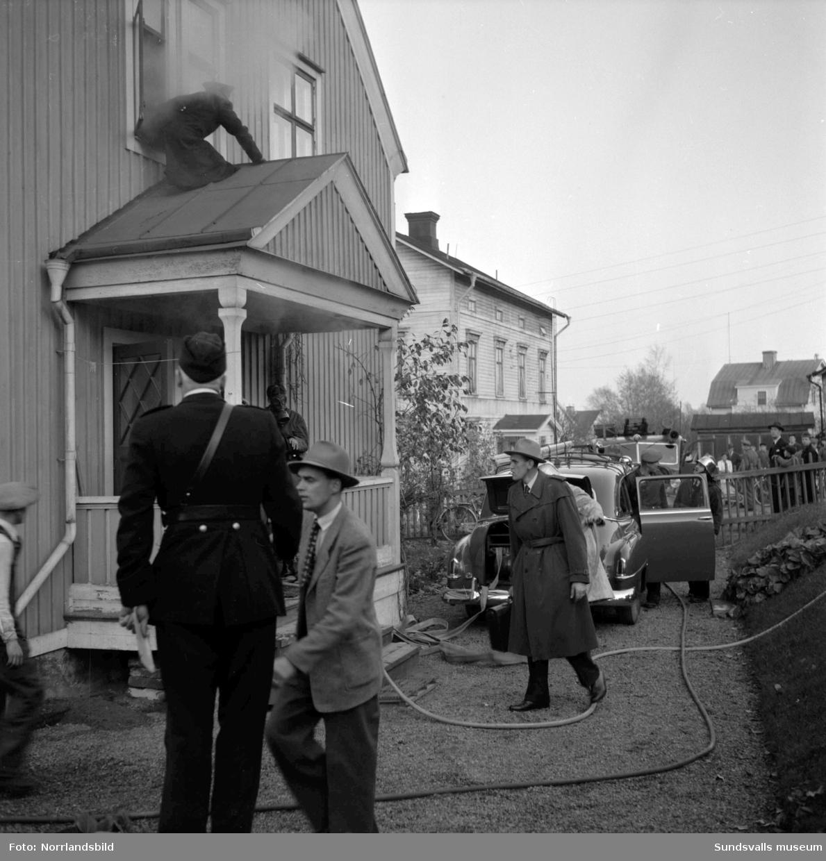 Brand i en villa på Nybrogatan 48.