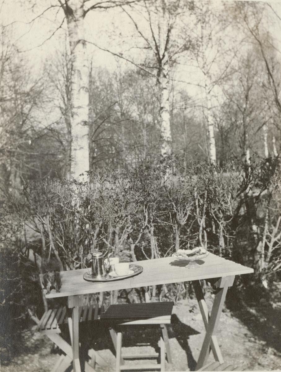 Ett fikabord med kaffe och småkakor i trädgården.