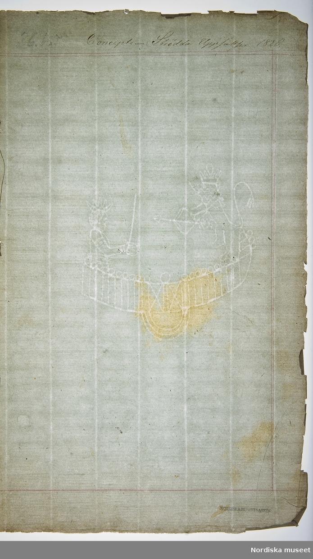 """""""Almqvist, Carl Jonas Ludvig (Love). Född 27/11 1793. Död 26/9 1866. Titel sidan ur Concept. Strödda uppsatser 1826.N.M. 52,963"""""""