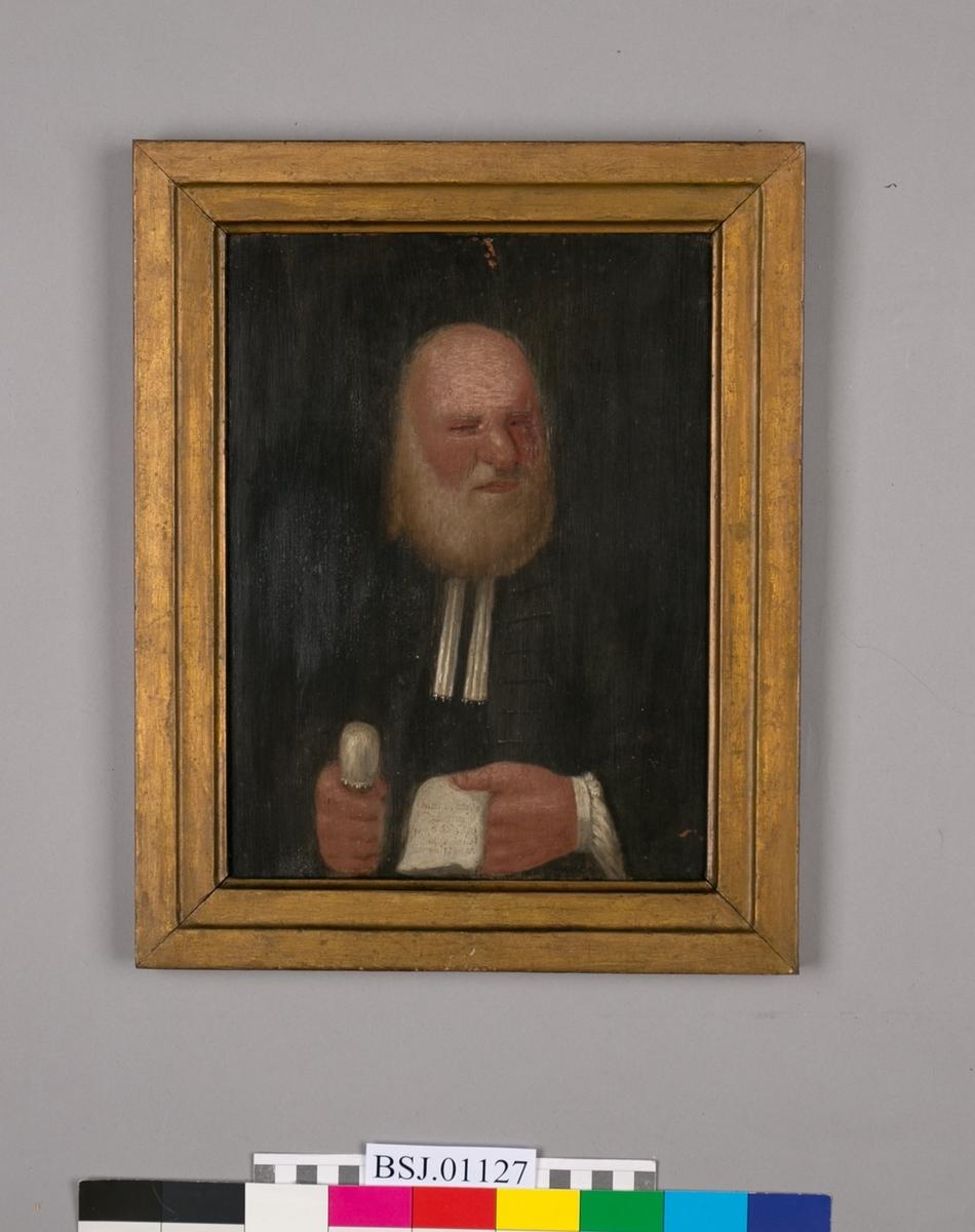 Oljemaleri av Christian Jacobsen Drakenberg. Ser ansikt, bryst og hendene.