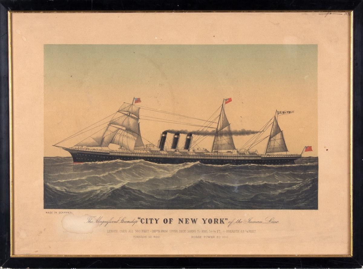 DS CITY OF NEW YORK for fulle seil og med damp i tre skorsteiner. På åpen sjø.