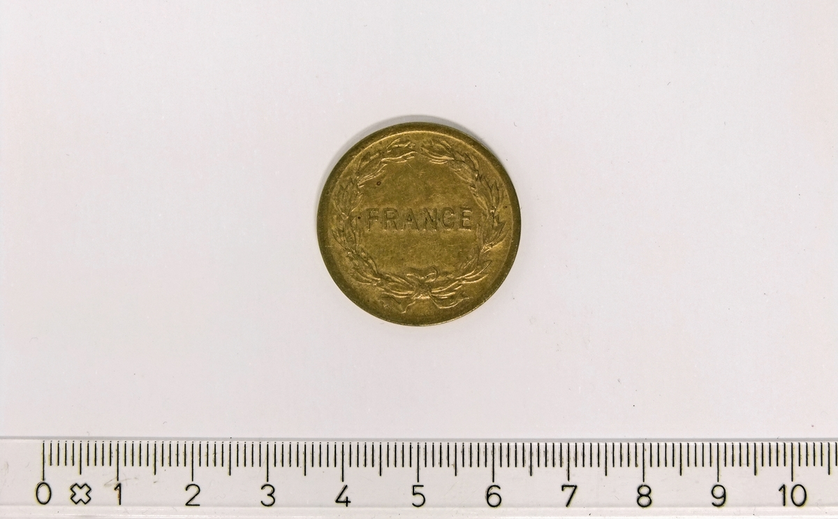 2 Francs  (2 FR),  FRANKRIKE,  1944,  Aluminium-Bronse.  Form:  Sirkulær