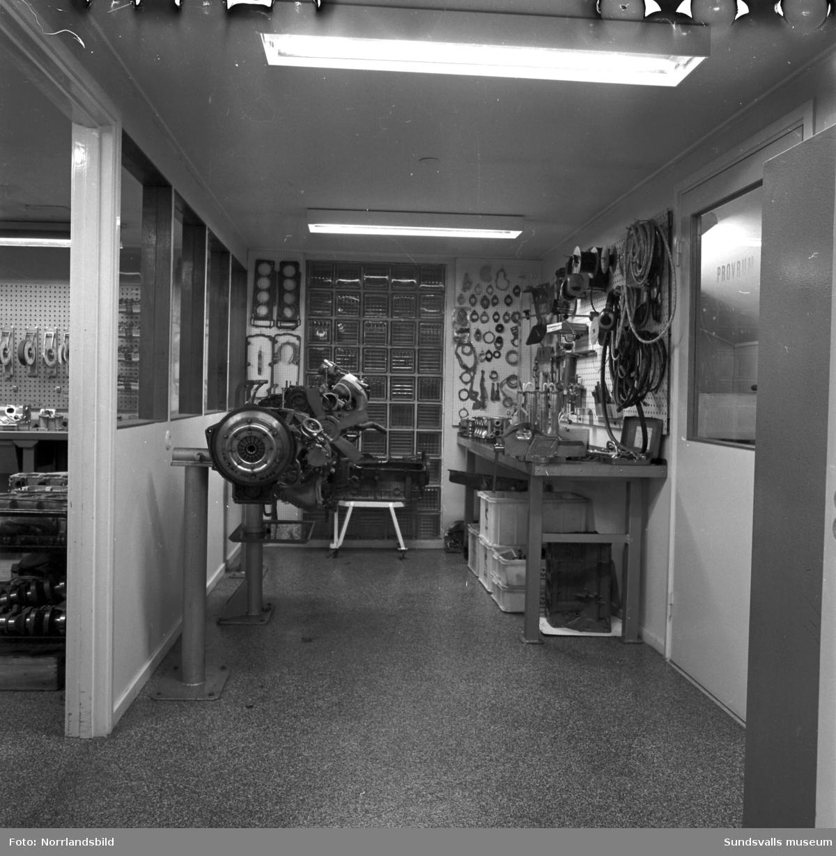 Motor Nords verkstadslokaler i Njurunda, interiörbilder.