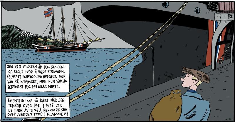 Tegning med sjømann i forgrunnen, bakenden på dampskip, skonnert med tre master og norsk flagg i bakgrunnen.