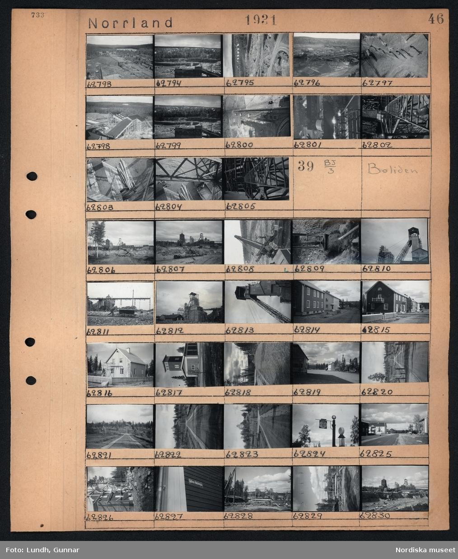 """Motiv: Norrland, Boliden gruvan; Vy över industriområde - byggnader och skog, industribyggnader.  Motiv: Norrland, Boliden; Vy över industriområde med byggnader - järnvägssvagnar och grävskopa, vy över väg med bostadshus, bensinpump med skylt """"Pratts Bensin"""", byggnadställningar vid ett hus och en man som målar fasaden, gatuskylt på en fasad """"Gyllene Medelvägen"""", vy över dagbrott med grävskopa och industribyggnader."""