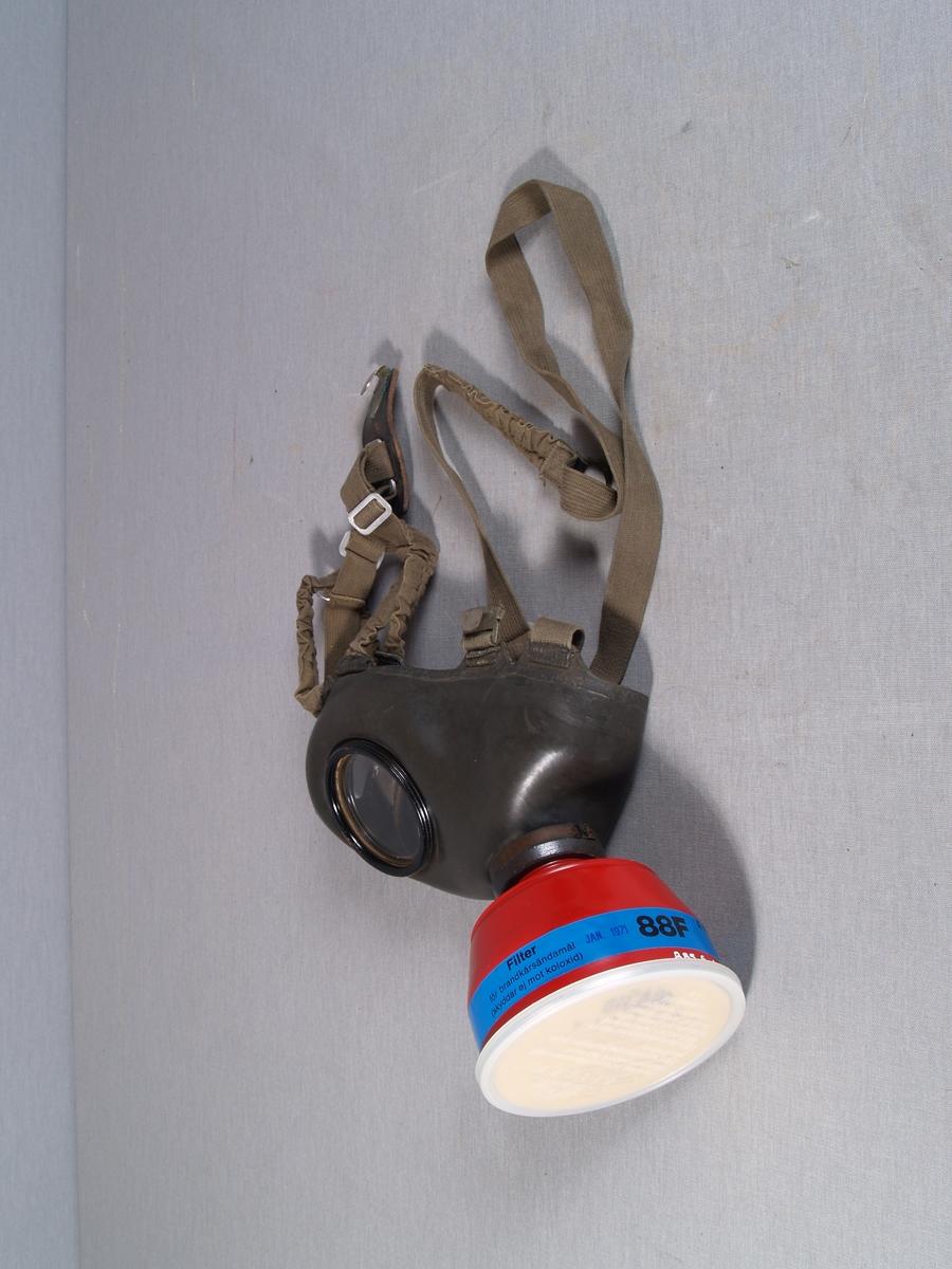 Gassmaske i gummi med runde øyeglass. Festestropper er i tekstil. Filterboks påmontert.