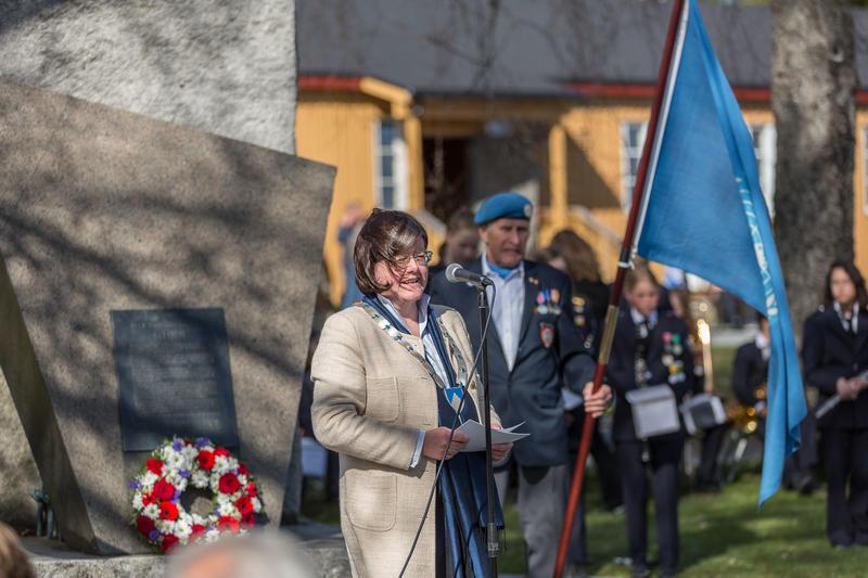 Anette Solli, fylkesordfører i Akershus, holder tale.