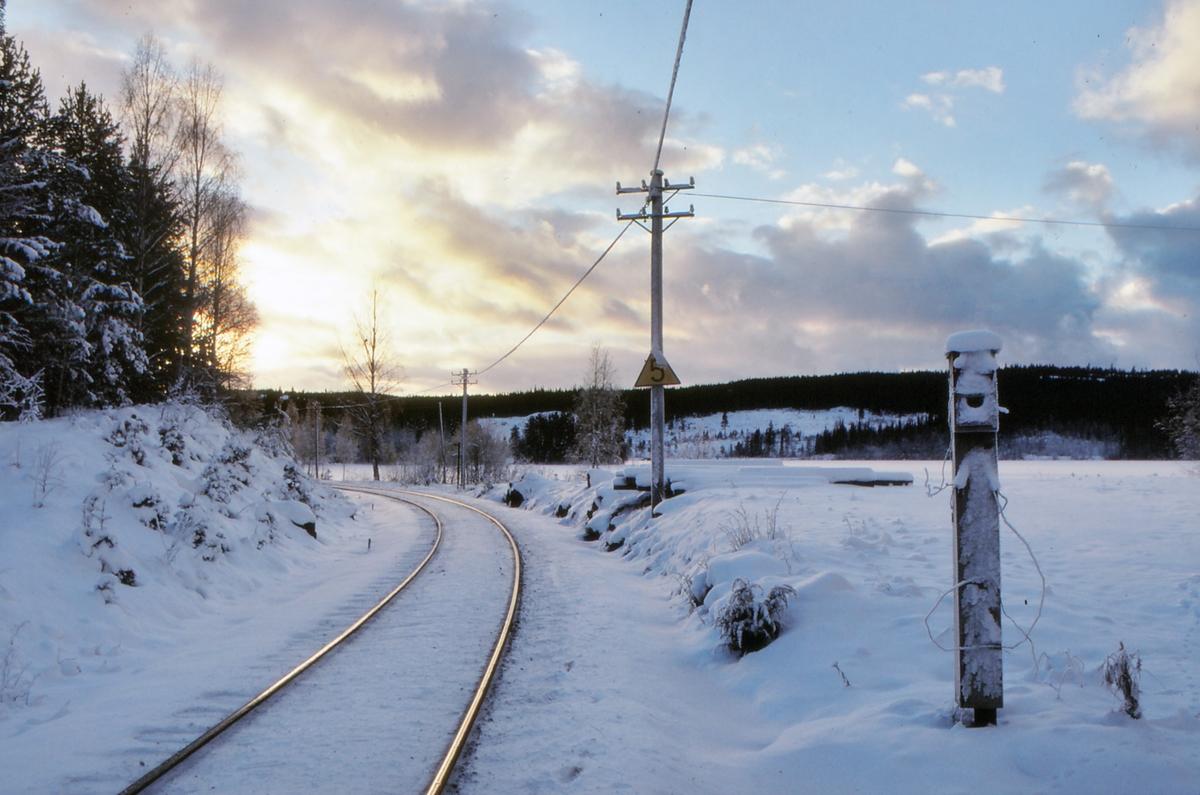 Innkjørsignalstedet, stasjonsgrensen, til Trevatn stasjon (fra Eina). Signalkasse for flagg og lykt.