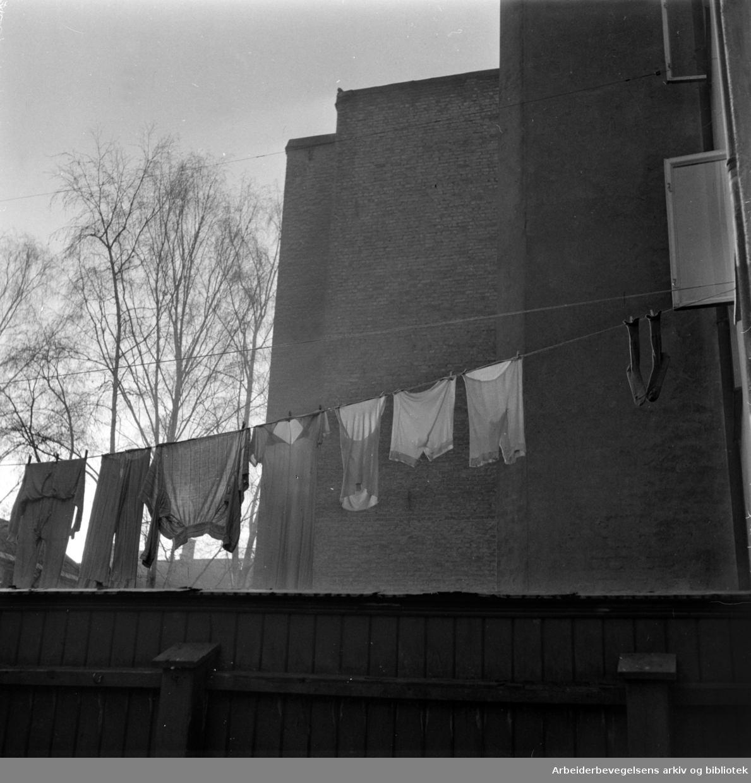 Grünerløkka, Gamle gårder- og bakgårder. Saneringer. Trange gårdsplasser på Grünerløkka. November 1957