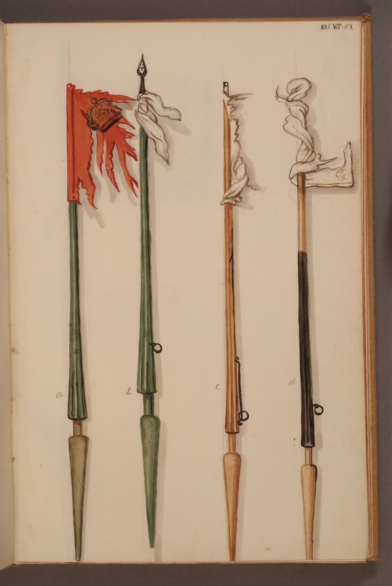 Avbildning i gouache föreställande fälttecken tagna som troféer av svenska armén. Standaren i mitten på bilden finns bevarade i Armémuseums samling, för mer information, se relaterade objekt.