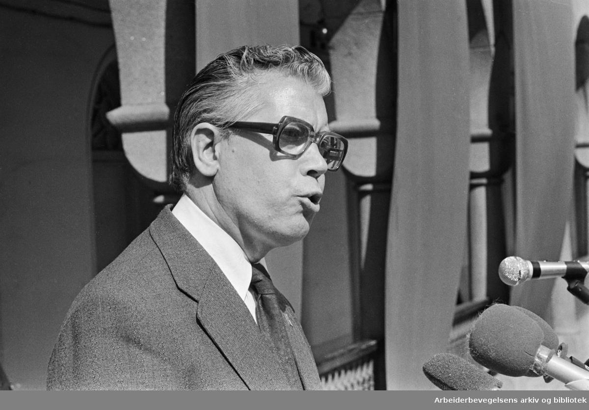 1. mai 1978, Tor Halvorsen taler på Youngstorget.
